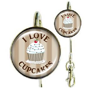 Accroche-clés I Love Cupcakes Marron
